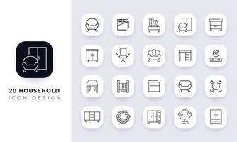 pack d'icônes de ménage incomplet de dessin au trait. vecteur