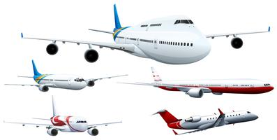 Cinq modèles d'avions vecteur