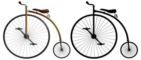 Un vélo à roues hautes vecteur