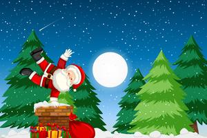Père Noël palyful la nuit vecteur