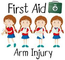 Blessure au bras de premiers secours