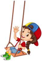 Fille heureuse palying sur balançoire vecteur