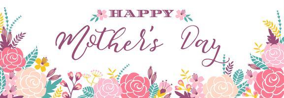 Heureuse fête des mères lettrage bannière de voeux avec des fleurs. vecteur