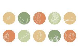 mettre en évidence l'ensemble de couverture, les icônes botaniques florales abstraites pour les médias sociaux. vecteur