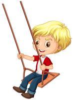Un garçon assis sur une balançoire vecteur