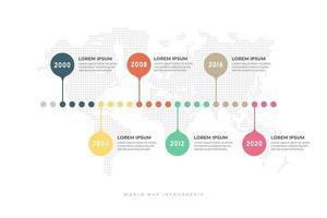 chronologie de l'entreprise avec modèle d'infographie de fond de carte du monde. vecteur