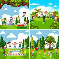 Ensemble de scènes d'enfants jouant vecteur