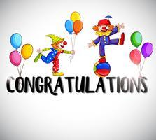 Modèle de carte de félicitations avec des clowns en arrière-plan vecteur