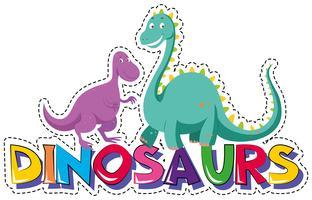Modèle d'autocollant pour mot dinosaures vecteur