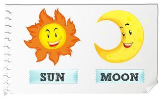 Soleil et lune au visage heureux vecteur