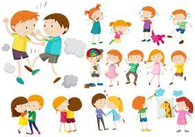 Garçons et filles dans différentes actions vecteur