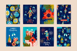 Cartes de Noël avec des femmes dansantes et des symboles du nouvel an. vecteur