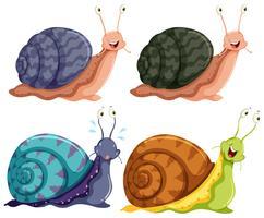 Escargots heureux isolés de quatre couleurs vecteur