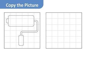 copier la feuille de travail photo pour les enfants, vecteur de rouleau de peinture