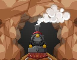 Trajet en train à travers la grotte vecteur