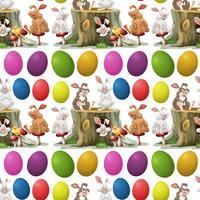Lapins et oeufs colorés