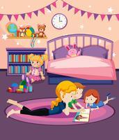 Un livre de lecture de mère aux enfants vecteur