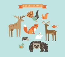 Illustrations vectorielles des animaux de la forêt.