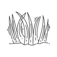 icône d'herbe de jardinage. jeu d'icônes dessinées à la main, contour noir, vecteur
