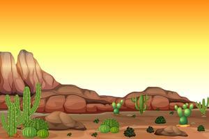 Scène du désert au coucher du soleil vecteur