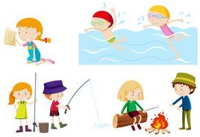 Les enfants font des activités différentes vecteur