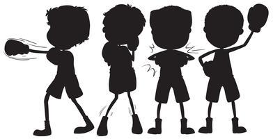 Ensemble de personnage boxer silhouette