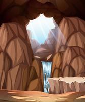 Scène de caverne avec puits de lumière et cascade