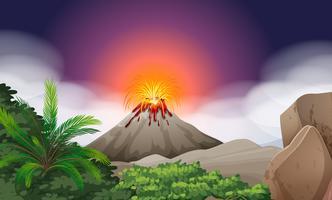 Scène de la nature avec éruption du volcan
