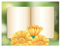 Un modèle de livre avec une fleur vecteur