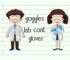 Garçon et fille en tenue de science vecteur
