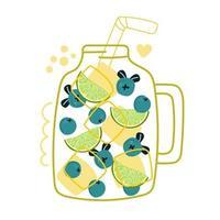 pot avec de la glace, tranche de citron vert et myrtilles, smoothie, cocktail. vecteur