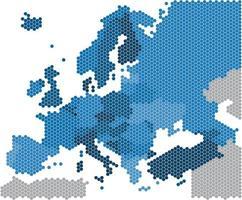 Forme hexagonale de la géométrie de la carte de l'Europe sur fond blanc vecteur