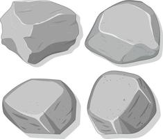 Ensemble de pierres grises isolé sur fond blanc vecteur