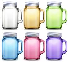 Bocaux en verre de six couleurs différentes vecteur