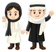Garçon et fille en costumes du Koweït vecteur