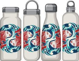 ensemble de différentes bouteilles thermos blanches motif carpe koi vecteur