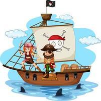 personnage de dessin animé de pirate marchant sur la planche du navire vecteur