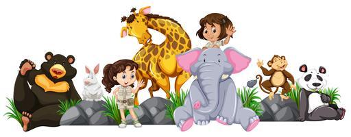 Safari Girls et Animaux Sauvages vecteur