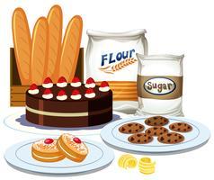 Ensemble de collection d'éléments de boulangerie vecteur
