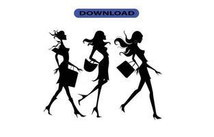 fille shopping icône ou logo haute résolution vecteur
