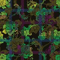 Modèle sans couture de tissu éclectique plaid avec ornement baroque. vecteur
