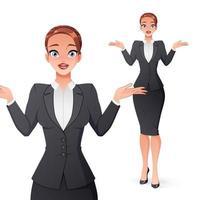 remettre en question businesswoman haussant les épaules vector illustration