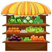 Légume sur une étagère en bois vecteur