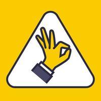panneau jaune en triangles indiquant à la main tout va bien. vecteur