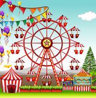 Grande roue au parc d'attractions vecteur