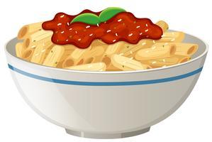 Sauce tomate Penne sur fond blanc vecteur