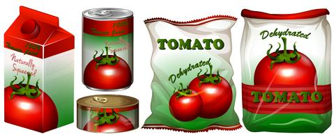 Tomate dans différents emballages vecteur