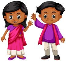 Indien, garçon, fille, sourire vecteur
