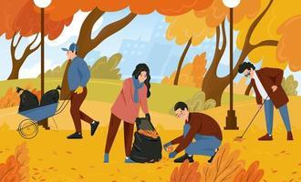 des bénévoles nettoient les feuilles mortes dans le parc vecteur