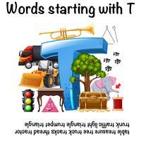Mots commençant par la lettre T vecteur